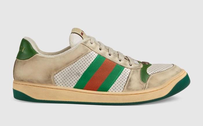 gucci, Screener leather sneaker, dirty sneaker