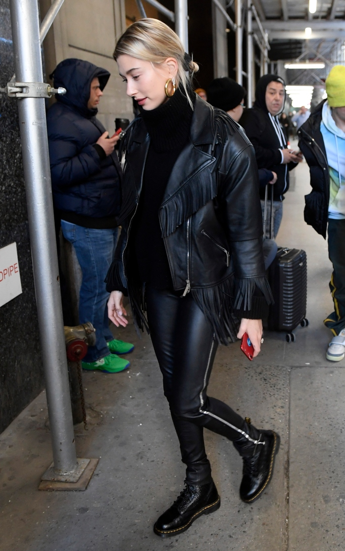 hailey baldwin, Alberta Ferretti oversized fringe trim biker jacket, Dr. Martens Pascal Croc Boots