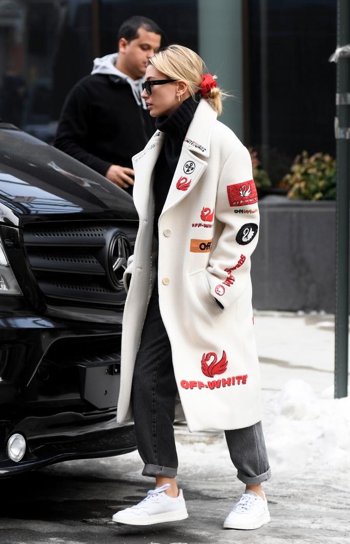 hailey baldwin, off-white, street style