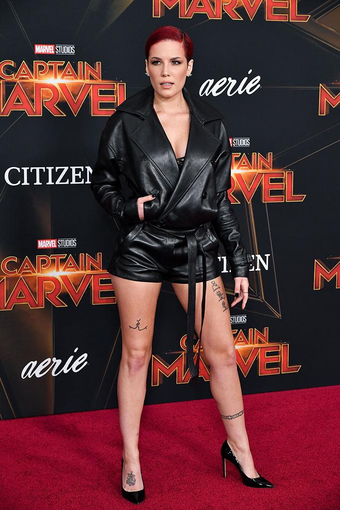 Halsey, leather, 'Captain Marvel' Film Premiere, Arrivals, El Capitan Theatre, Los Angeles, USA - 04 Mar 2019