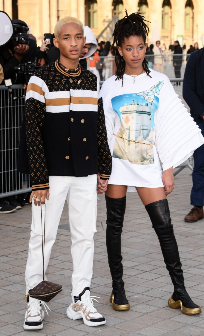 louis vuitton archlight, front row, paris fashion week fall 2019, willow smith, jaden smith