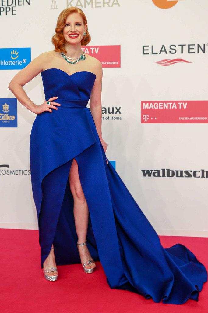 Jessica Chastain, golden camera, celebrity style, elie saab, thigh-high slit, rene caovilla, sandals
