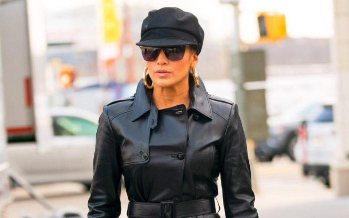 Jennifer Lopez wears an all leather outfit when walking out of her trailer in New YorkPictured: Jennifer LopezRef: SPL5075317 270319 NON-EXCLUSIVEPicture by: Jackson Lee / SplashNews.comSplash News and PicturesLos Angeles: 310-821-2666New York: 212-619-2666London: 0207 644 7656Milan: 02 4399 8577photodesk@splashnews.comWorld Rights, No Portugal Rights