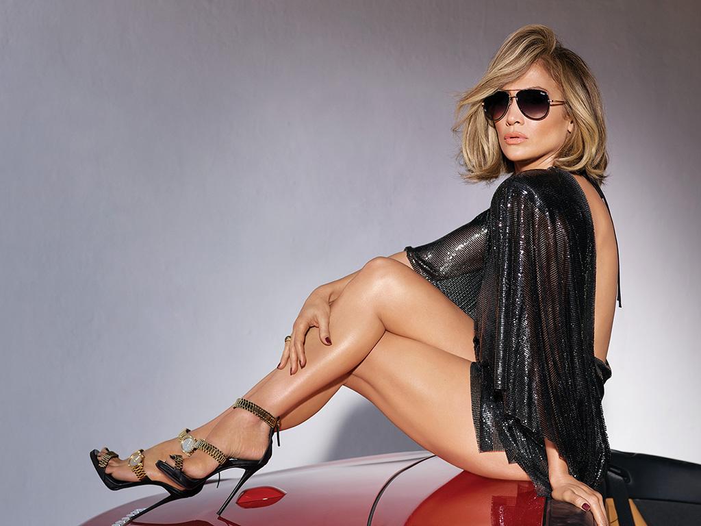 Jennifer Lopez in Quay Australia campaign in Zanotti x Christian Cowan heels.