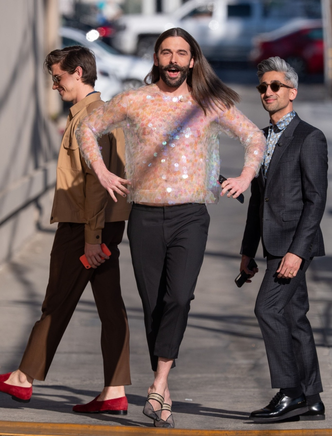 Antoni Porowski, Jonathan Van Ness and Tan France, dries van noten, stella mccartney