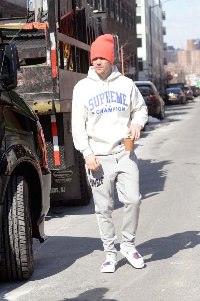 justin bieber, champion slides, slides, new york