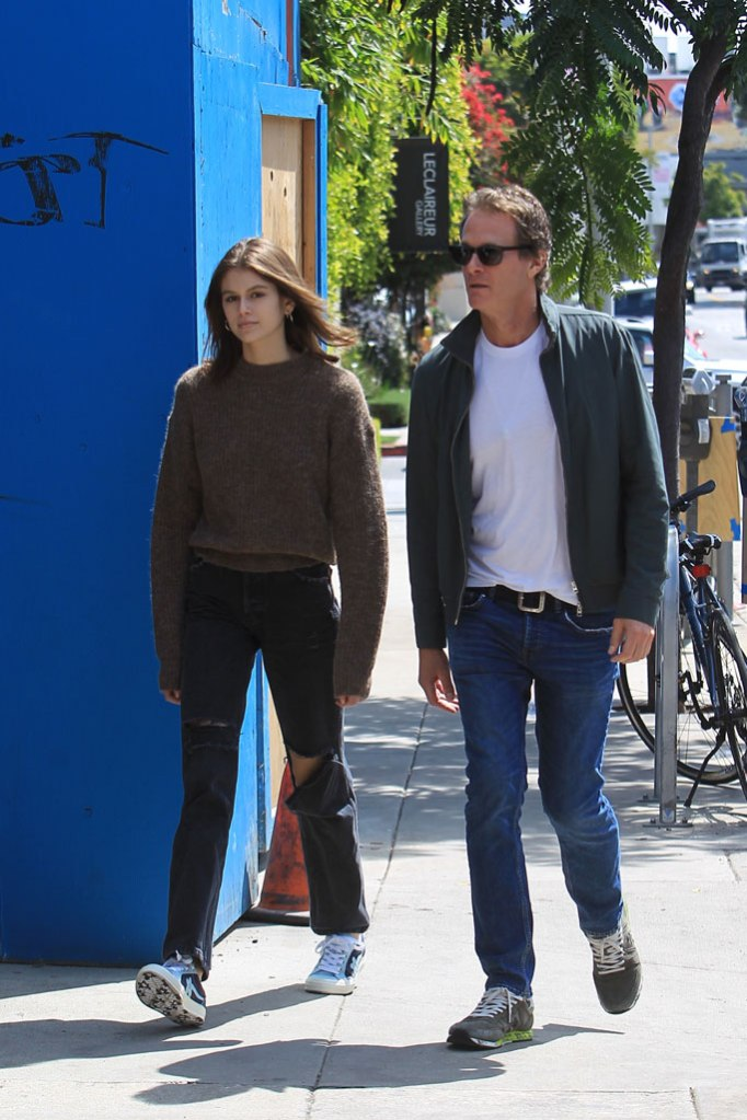 Kaia Gerber, rande gerber, west hollywood, sneakers, sweater, celebrity style