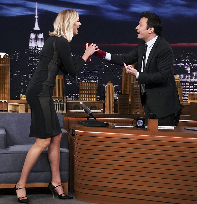 tom ford mary jane pumps, THE TONIGHT SHOW STARRING JIMMY FALLON -- Episode 1027 -- Pictured: (l-r) Model Karlie Kloss and host Jimmy Fallon during the
