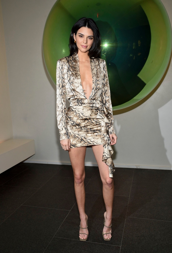 kendall jenner, times square edition, snakeskin dress