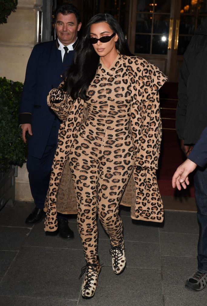 kim kardashian, alaia 1991, leopard catsuit