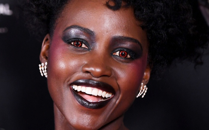 Lupita Nyong'o'Us' film screening, London, red eye contact lenses
