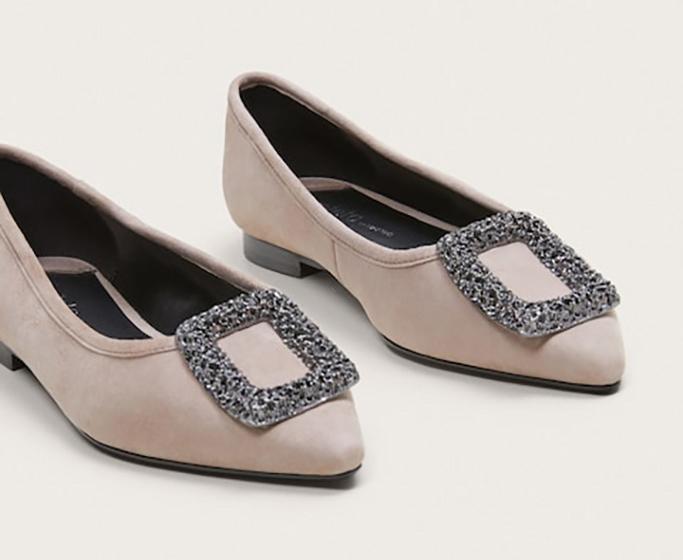 Mango Rhinestone Leather Shoes