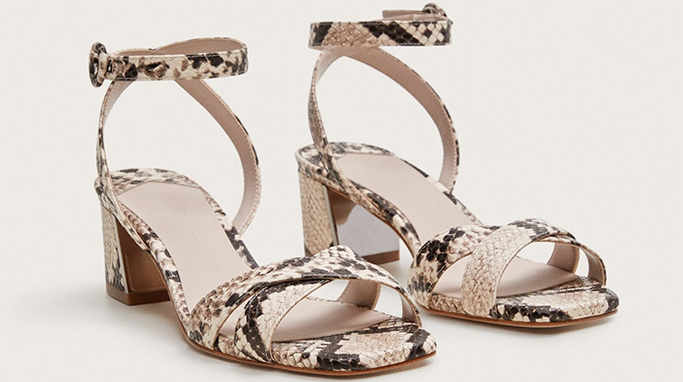 Mango Snake-effect strap sandals