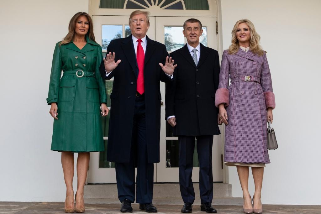 melania trump, christian louboutin, president donald trump, alexa chung green coat dress