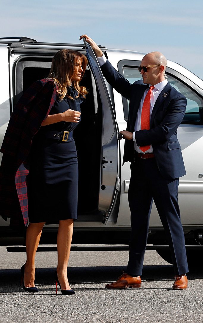 christian louboutin heels, so kate pumps, las vegas, First lady Melania Trump steps out of a vehicle before boarding an aircraft at McCarran International Airport in Paradise, Nev., after participating in a town hall on the opioid epidemic in Las Vegas, during a two-day, three-state swing to promote her Be Best campaignMelania Trump, Paradise, USA - 05 Mar 2019