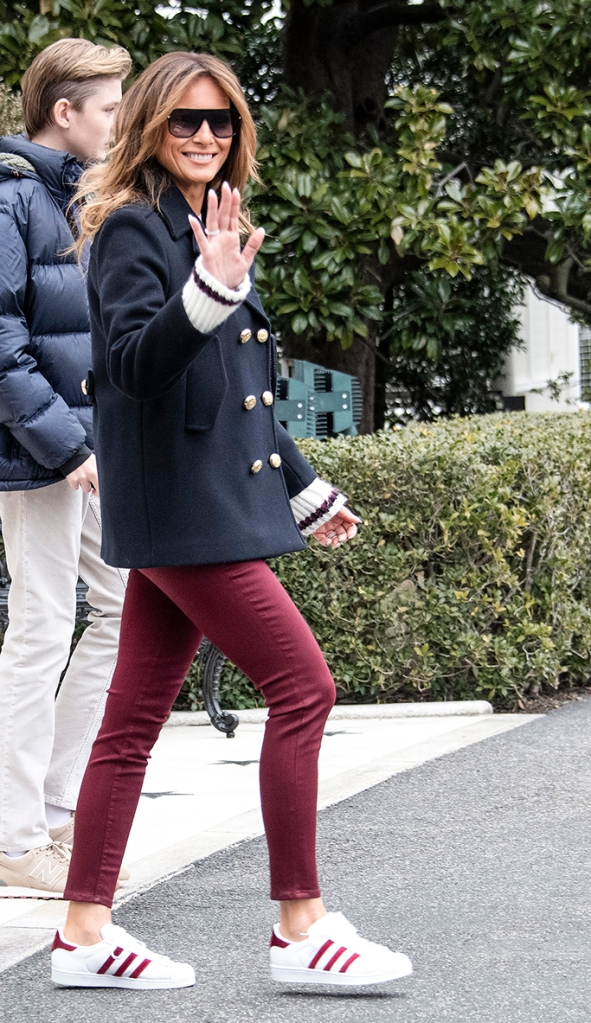 melania trump, adidas superstar sneakers, j brand jeans, celebrity style, flotus, march 2019, First lady Melania Trump and Barron Trump join United States President Donald J. Trump as he departs the White House in Washington, DC on Friday, March 8, 2019. The President will travel to Alabama to see the damage from the tornados earlier in the week before continuing to Florida to spend the weekend at his Mar-a-Lago resort.Pictured: Melania TrumpRef: SPL5071008 080319 NON-EXCLUSIVEPicture by: SplashNews.comSplash News and PicturesLos Angeles: 310-821-2666New York: 212-619-2666London: 0207 644 7656Milan: 02 4399 8577photodesk@splashnews.comWorld Rights, No Germany Rights, No Netherlands Rights