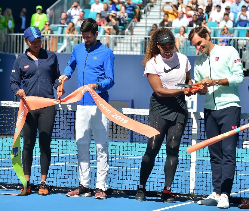 Naomi Osaka, Novak Djokovic, Serena Williams, Roger Federer, miami open, ribbon cutting ceremony