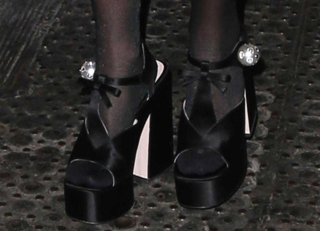 rita ora shoe style, Miu Miu Satin Platform T-Strap Sandals