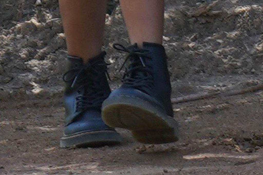 North West, shoes, workboots, celebrity style, kanye west, kim kardashian
