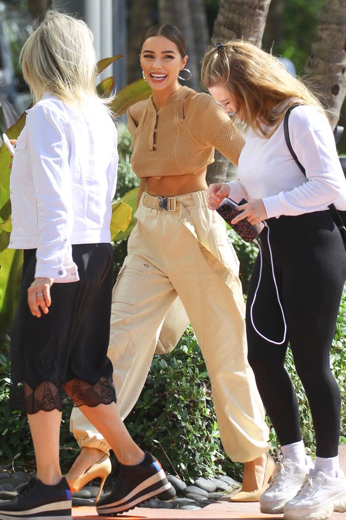 Olivia Culpo, miami, fendi, cargo pants, crop top, stuart weitzman, nude pumps, high heels