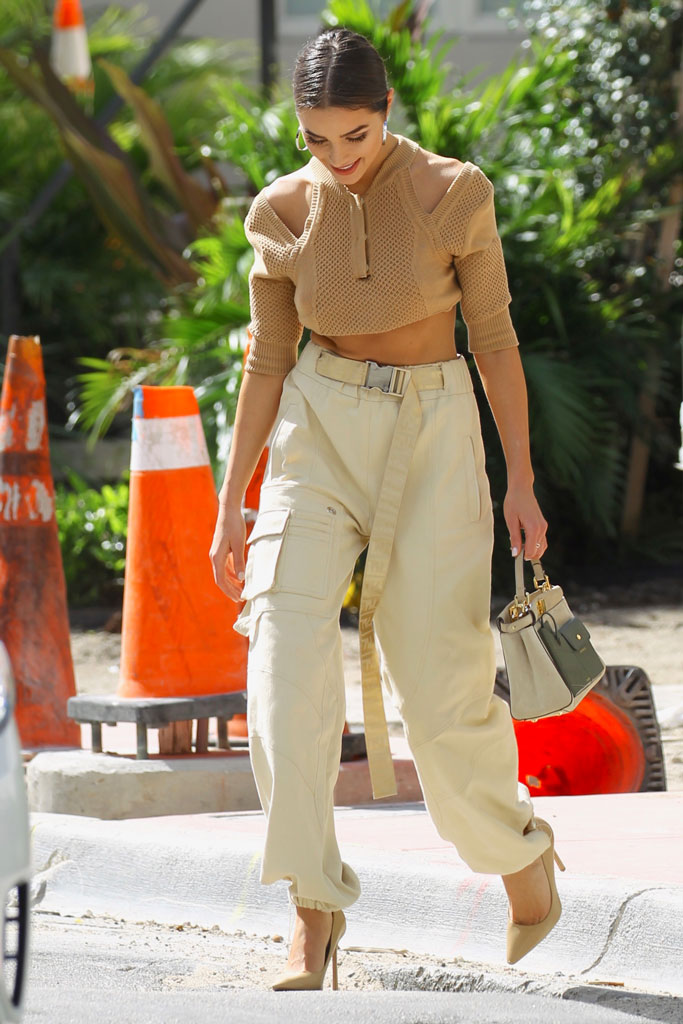 olivia culpo, fendi, crop top, cargo pants, high heels, stuart weitzman, celebrity style, miami