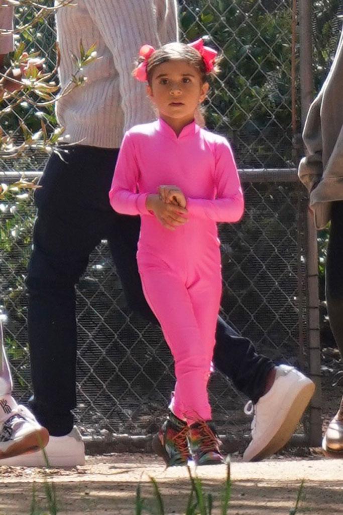 Penelope Disick, pink outfit, rainbow boots, celebrity style, kourtney kardashian, scott disick