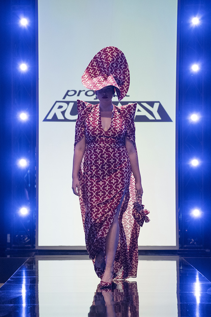 PROJECT RUNWAY -- Episode 1703 -- Pictured: Designed by Bishme Cromartie -- (Photo by: Karolina Wojtasik/Bravo)