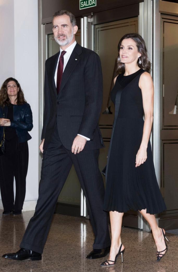King Felipe VI and Queen Letizia, manolo blahnik pvc slingbacks