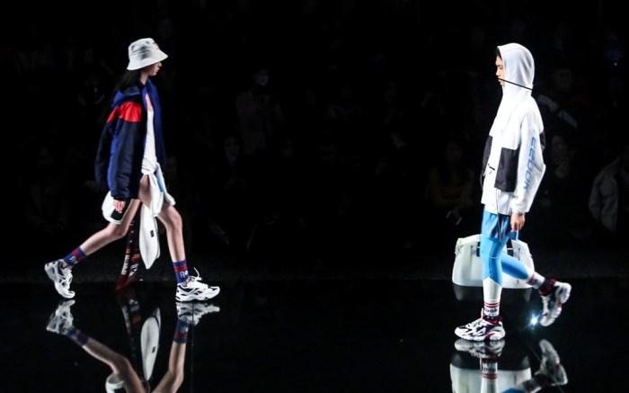 Models sport Reebok fall 2019 looks on the runway at Shanghai Fashion Week