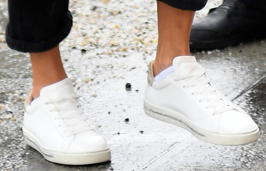 jennifer lopez shoe style, René Caovilla crystal-embellished sneakers