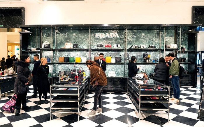Shoppers inside the Prada concession store in Selfridges as the Boxing day sales beginBoxing Day Sales, London, UK - 26 Dec 2018