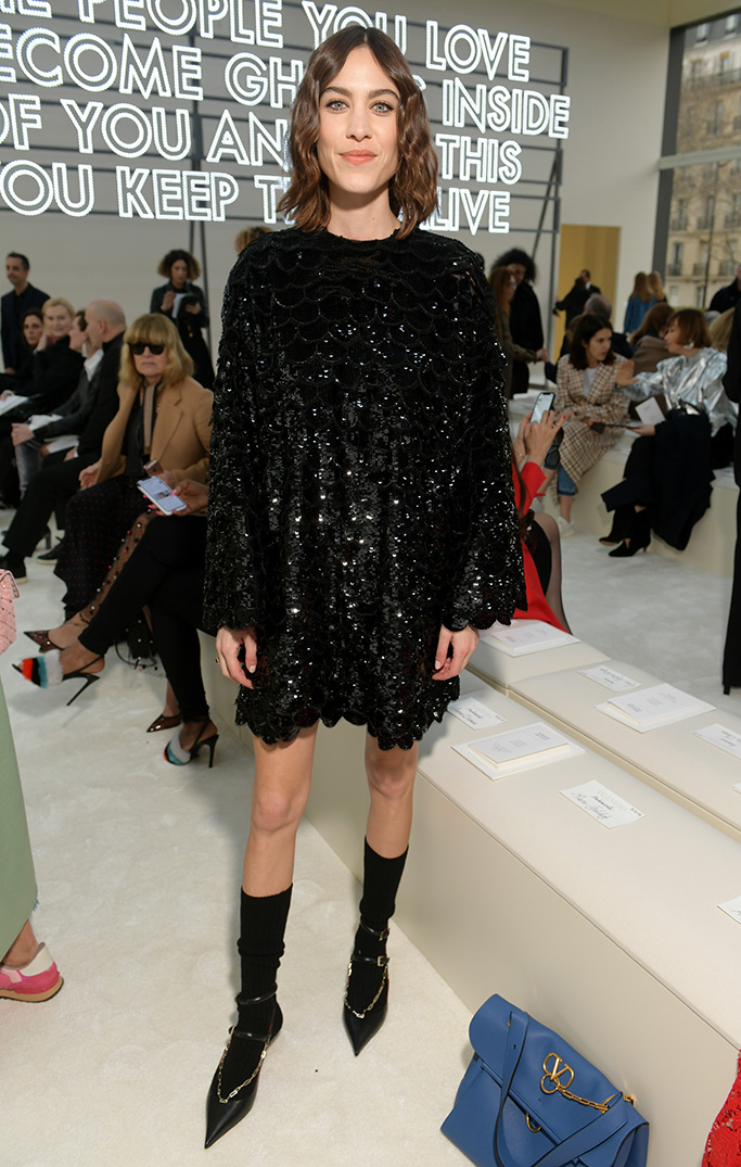 Alexa Chung in the front row Valentino show, Front Row, Fall Winter 2019, Paris Fashion Week, France - 03 Mar 2019