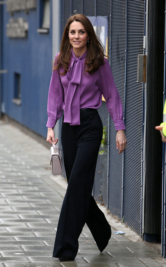 Catherine Duchess of CambridgeCatherine Duchess of Cambridge visits Henry Fawcett Children's centre, London - 12 Mar 2019Wearing Gucci, Top, Wearing Jigsaw, Trousers, High-Street Brand, Bag By Aspinal Of London