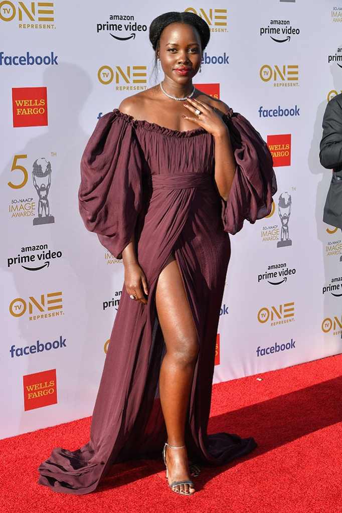 Lupita Nyong'o, celebrity style, 50th Annual NAACP Image Awards, Arrivals, Dolby Theatre, Los Angeles, USA - 30 Mar 2019 Wearing Giambattista Valli Same Outfit as catwalk model *5744611ap