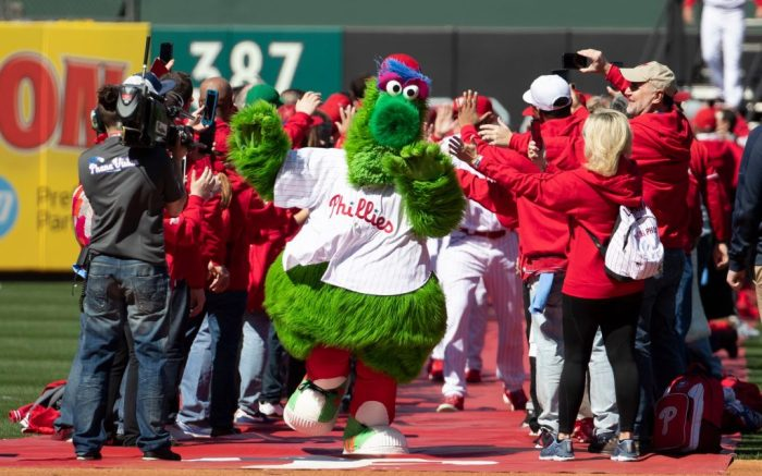 The Phillie Phanatic leads out the team during the MLB game between the Atlanta Braves and Philadelphia Phillies at Citizens Bank Park in Philadelphia, PennsylvaniaMLB Braves vs Phillies, Philadelphia, USA - 28 Mar 2019
