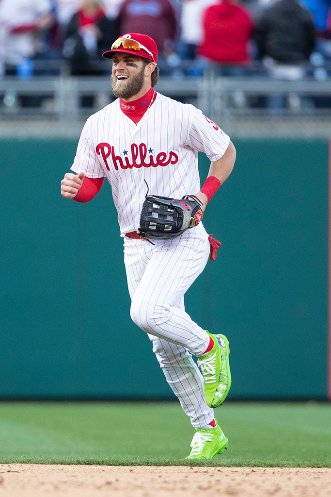 Philadelphia Phillies right fielder Bryce Harper (3) celebrates the win during the MLB game between the Atlanta Braves and Philadelphia Phillies at Citizens Bank Park in Philadelphia, PennsylvaniaMLB Braves vs Phillies, Philadelphia, USA - 28 Mar 2019