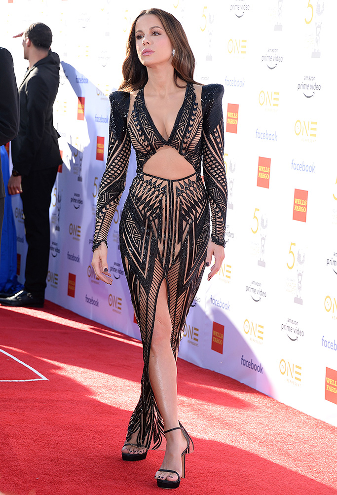 Kate Beckinsale, naked dress, celebrity style, legs, stuart weitzman, sandals, julien macdonald,0th Annual NAACP Image Awards, Arrivals, Dolby Theatre, Los Angeles, USA - 30 Mar 2019