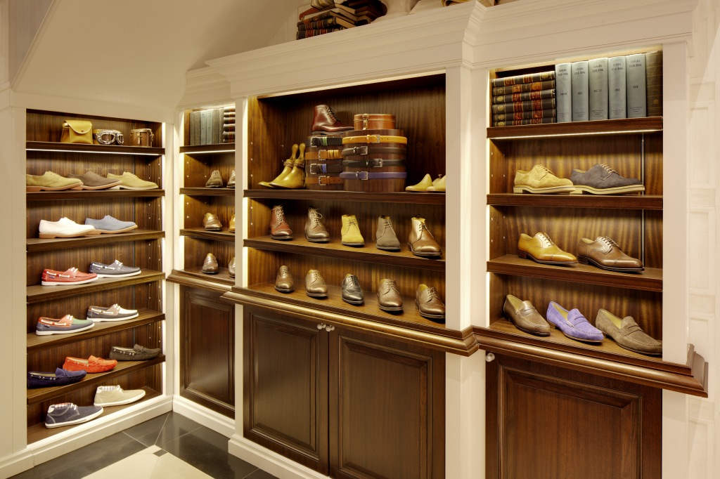 Interior Store of Hackett in London with many leather shoes on display