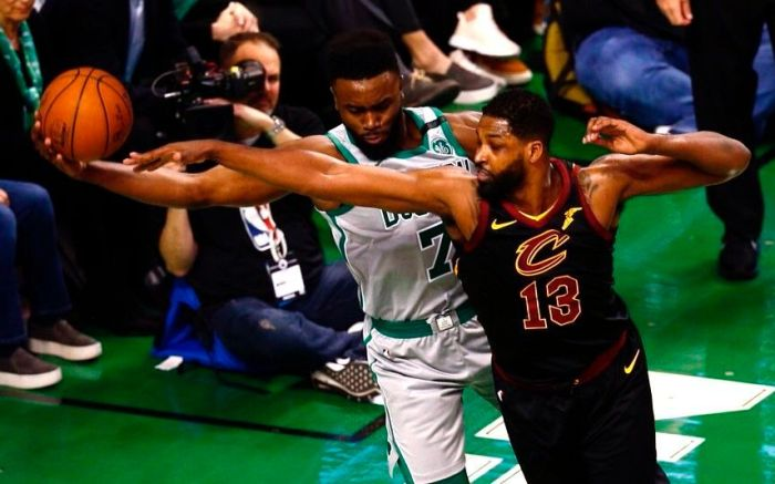 Boston Celtics guard Jaylen Brown (L) keeps the ball in bound and away from Cleveland Cavaliers center Tristan Thompson (R) during the first quarter at TD Garden in Boston, Massachusetts, USA 11 February 2018.Cleveland Cavaliers at Boston Celtics, USA - 11 Feb 2018