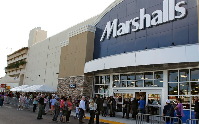 People line up for doors to open in front of a Marshalls during a grand opening, in San Juan, Puerto Rico. Marshalls, a leading off-price retailer, celebrates the grand opening of its San Juan location at Plaza Las Americas Thursday. Marshalls and its sister company, TJ Maxx, made a $100,000 donation to Habitat for Humanity of Puerto Rico to help rebuild homes for its neighbors on the islandMarshalls Store Grand Opening, San Juan, Puerto Rico - 22 Feb 2018