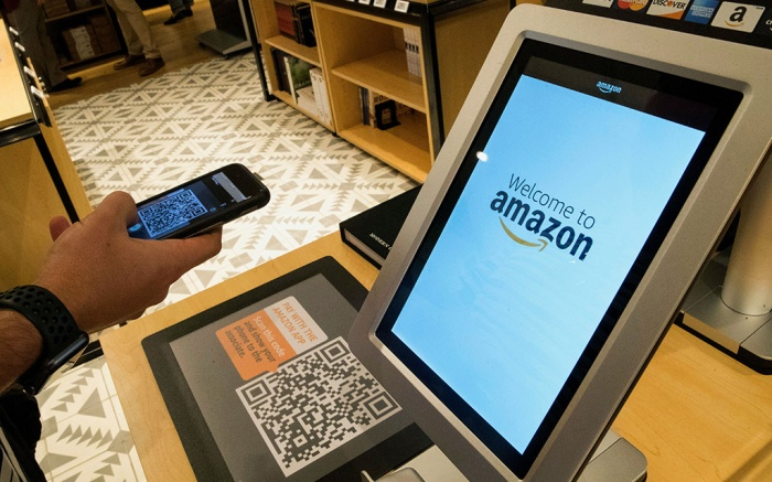 Daniel Thorpe, of Hoboken, N.J., uses the Amazon app to pay for his purchase at the Amazon 4-star store in the Soho neighborhood of New York, . Amazon is expanding its physical presence again, this time opening a 4,000-square-foot store that sells a wide range of products, including shower curtains, Hallmark cards and baby bottlesAmazon New Store, New York, USA - 27 Sep 2018