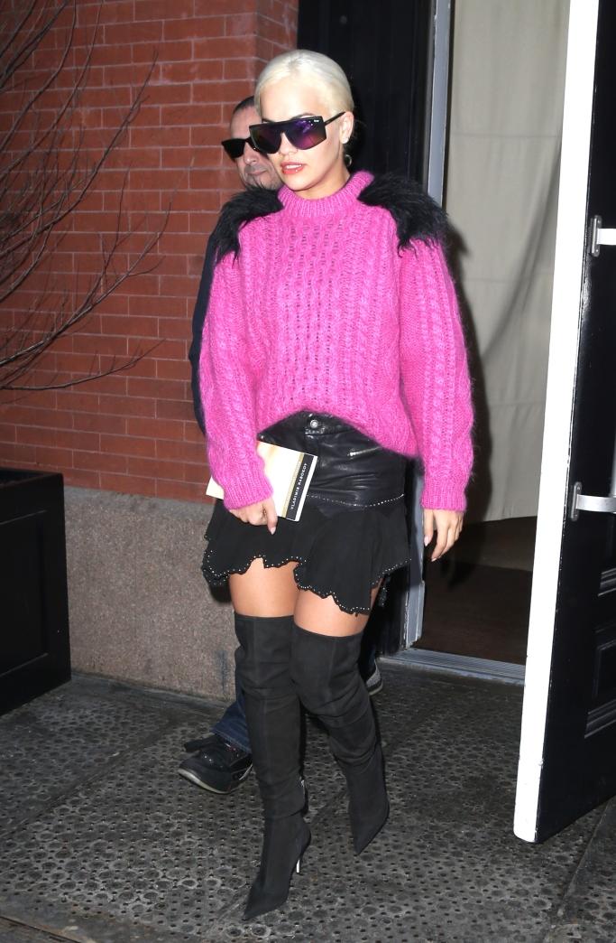 rita ora street style, sergio rossi over the knee matrix boots