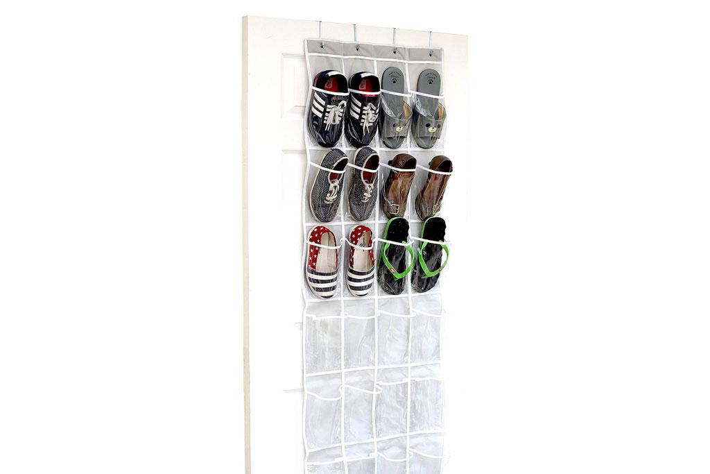 SimpleHousewear 24-pocket hanging shoe organizer.