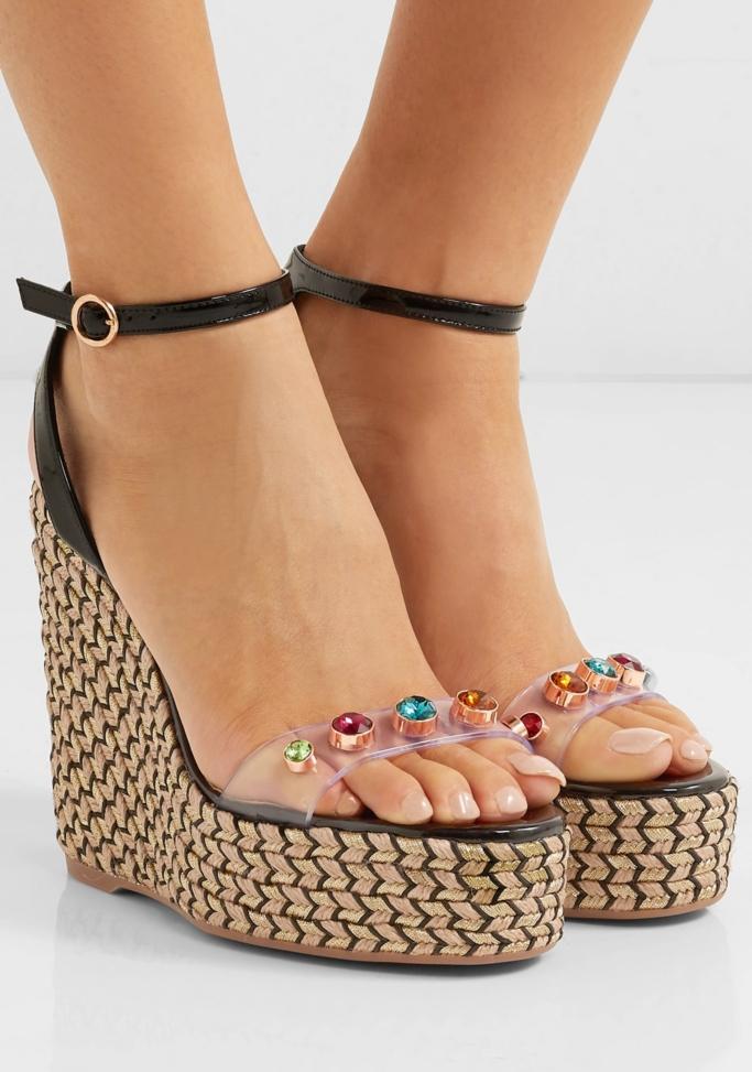 sophia webster Dina embellished vinyl and patent-leather espadrille wedge sandals