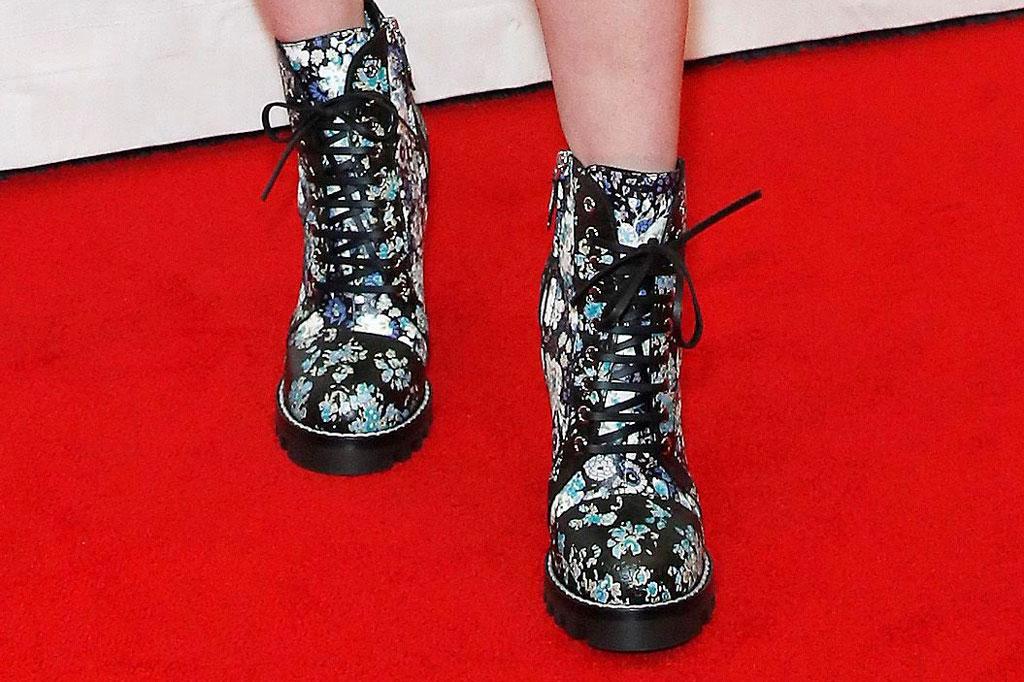 sophie turner, celebrity style, floral combat boots, celebrity style