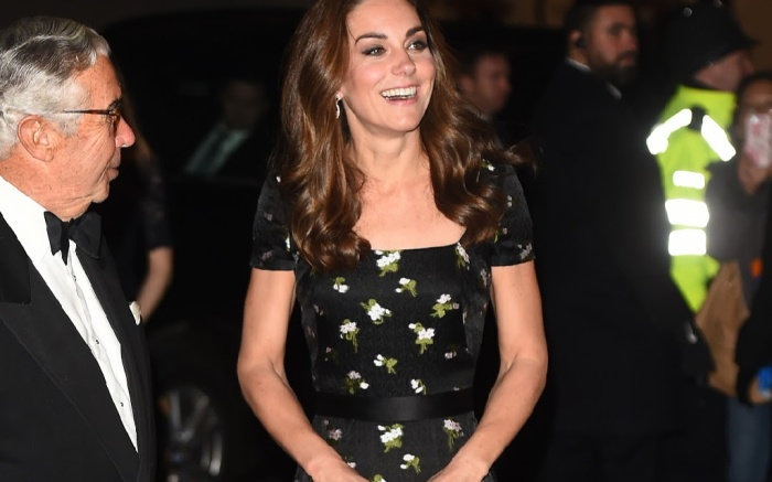 Kate Middleton wears an Alexander McQueen gown to the National Portrait Gallery Gala.
