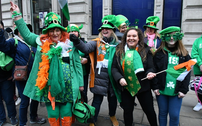 People take part in the St Patrick's Day Festival ParadeSt Patrick's Day Parade, London, UK - 18 Mar 2018London's St. Patrick's Day Festival showcases the best of Irish food, music, song, dance, culture and arts.