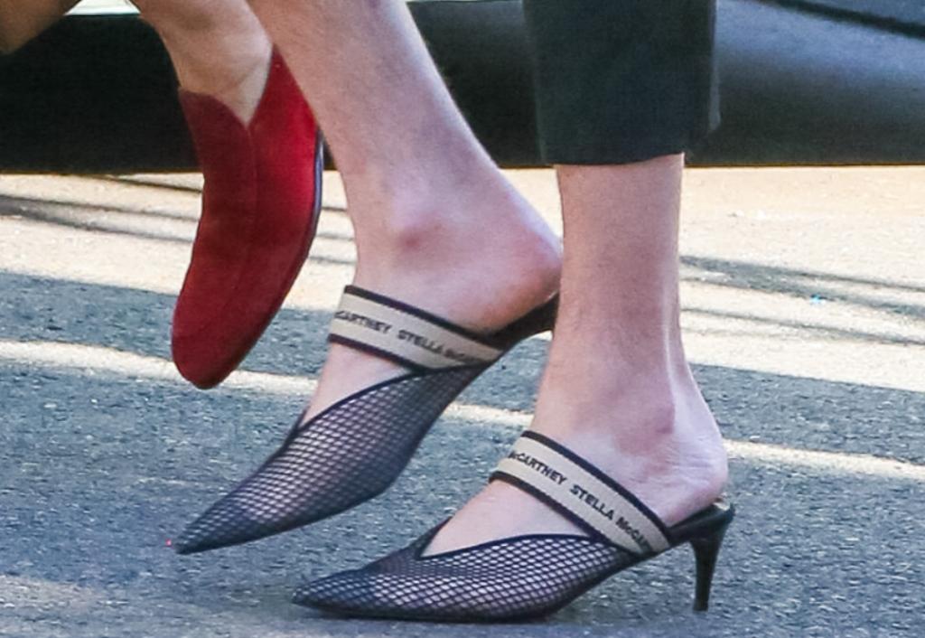 jonathan van ness, Stella McCartney mesh logo mules