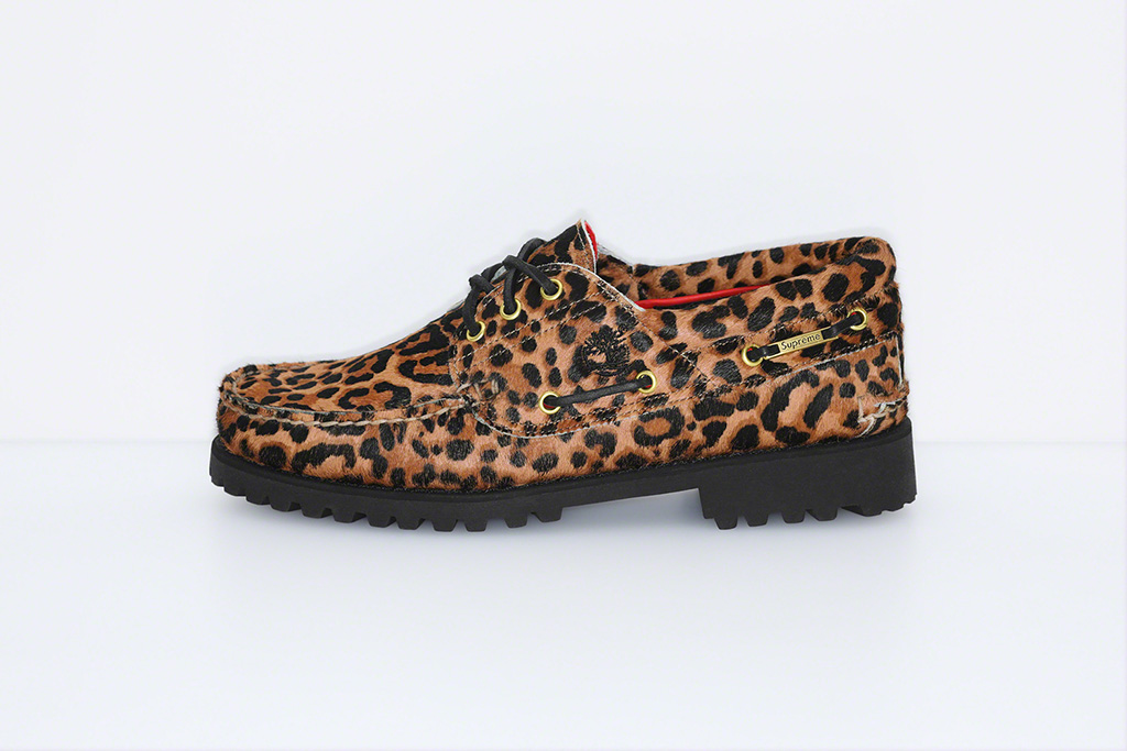 SupremexTimberland, 3-Eyed Classic Lug Sole, shoe, leopard print, boat shoe, calf hair