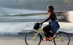 female bicyclist